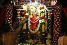162-Navaratri 2014 – Day-9 Mahishasura mardhini at Sri Ramanashramam, Tiruvannamalai.